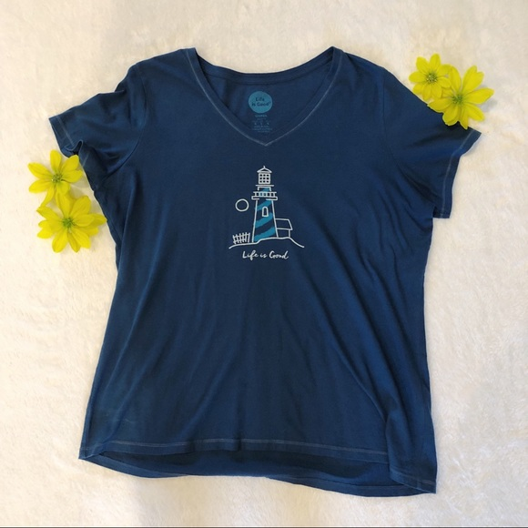Life Is Good Tops - Life Is Good | Lighthouse Short Sleeve Tee Sz L
